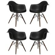 eModern Decor Scandinavian Arm Chair (Set of 4); Black