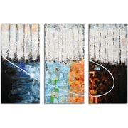 Omax Decor Blocks of Fire and Ice 3 Piece Original Painting on Canvas Set
