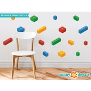 Sunny Decals 16 Piece Building Block Bricks Fabric Wall Decal Set