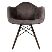 eModern Decor Velvet Fabric Arm Chair with Wood Legs; Brown