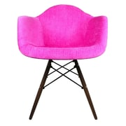 eModern Decor Velvet Fabric Arm Chair with Wood Legs; Pink