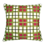 Edie Inc. Belgravia Plaid Throw Pillow; White / Fuchsia / Lime