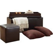 4D Concepts 4 Piece Ottoman and Stool Set with Pillows