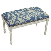 123 Creations Floral Upholstered and Wood Bench; Blue