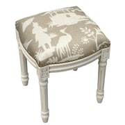 123 Creations Floral Chinoiserie Linen Upholstered Vanity Stool; Light Taupe