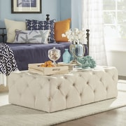 Kingstown Home Carthusia Rectangular Tufted Cocktail Ottoman; Beige