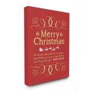 Stupell Industries Merry Christmas Typography Holiday Wrapped Canvas Wall Art; 24'' x 30''