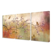 Stupell Industries Pink Blossoms and Butterflies 3 pc Wrapped Canvas Wall Art Set