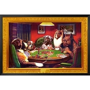 Buy Art For Less 'Bold Bluff, Dogs Playing Poker' by C.M. Coolidge Framed Graphic Art