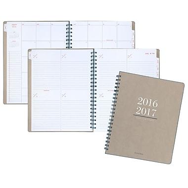 At-A-Glance® - Planificateur scolaire hebdo/mensuel 2016/2017 Yo Pro à spirale, 8 3/8 po x 11 po, beige, anglais