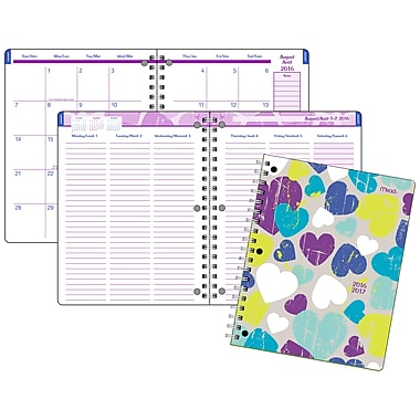 Mead® 2016/2017 Clear Impressions® Week/Monthly Planner, 7-3/4