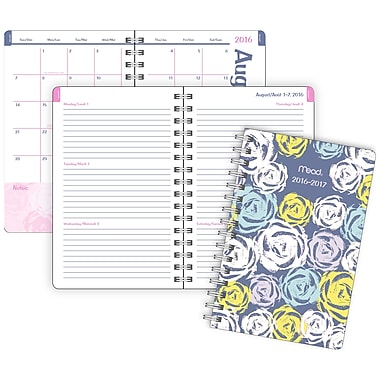 Mead® 2016/2017 Clear Impressions Weekly/Monthly Student Planner, 5-3/9