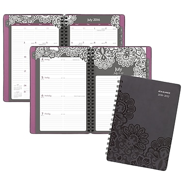 At-A-Glance® 2016/2017 Floral Filigree Weekly/Monthly Planner with Monthly Tabs, 5-1/2