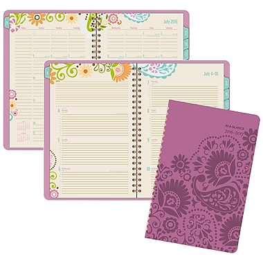 At-A-Glance® 2016/2017 Garden Party Weekly/Monthly Planner with Monthly Tabs, 5-1/2