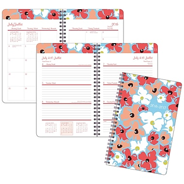 Staples® 2016/2017 Linear Floral Weekly/Monthly Academic Planner, 5-1/2