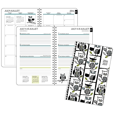 Staples® 2016/2017 Owls Weekly/Monthly Poly Fashion Planner, 5-1/2