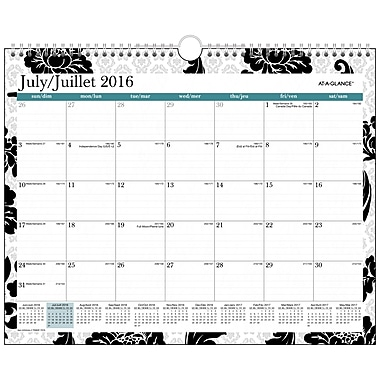 At-A-Glance® – Calendrier mural horizontal 2016/2017 Madrid, 12 po x 15 po, motif floral, bilingue