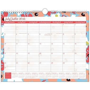 Staples® 2016/2017 Linear Flora Fashion Wall Calendar, 14-7/8