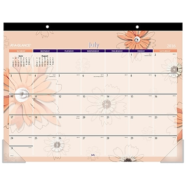 At-A-Glance® 2016/2017 Recycled Monthly Flowers Desk Pad, 22