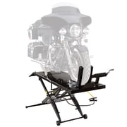 Black Widow (BW-1000A) ,Air Operated Motorcycle Lift Table with Wheel Chock & Drop Panel