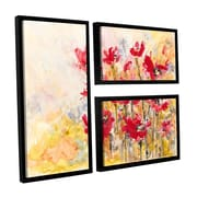 ArtWall Poppy Field by Karin Johannesson 3 Piece Floater Framed Painting Print on Canvas Flag Set