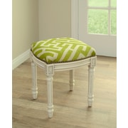 123 Creations Graphic Lattice Linen Upholstered Vanity Stool; Chartreuse Green