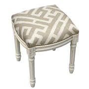 123 Creations Graphic Lattice Linen Upholstered Vanity Stool; Light Taupe