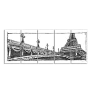 Stupell Industries Eiffel Tower Drawing Paris 5 pc Black & White Wrapped Canvas Wall Art Set