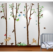 Innovative Stencils Birch Tree Forest with Deers and Flying Birds Nursery Wall Decal; 84''