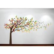 Innovative Stencils Wind Blowing Tree Cherry Blossom Nursery Wall Decal