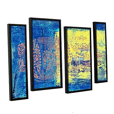 ArtWall Blue w/ Stencils by Elena Ray 4 Piece Framed Painting Print on Canvas Set; 24'' H x 36'' W WYF078278525041
