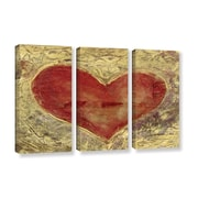 ArtWall Red Heart of Gold by Elena Ray 3 Piece Painting Print on Gallery-Wrapped Canvas Set