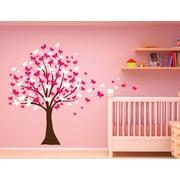 Innovative Stencils Butterfly Cherry Blossom Tree Baby Nursery Wall Decal; Pink/ White