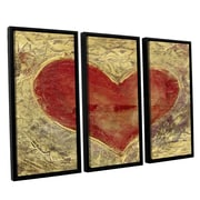 ArtWall Red Heart of Gold by Elena Ray 3 Piece Floater Framed Painting Print on Canvas Set