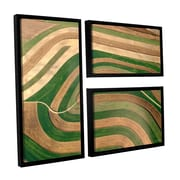 ArtWall Cropped Crops by Lora Mosier 3 Piece Floater Framed Photographic Print on Canvas Flag Set