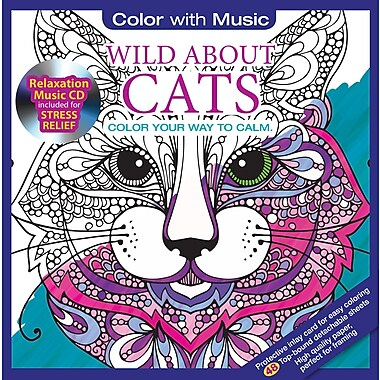 Color with Music, Adult Colouring Book, Wild About Cats, Nature Music, 48 Pictures