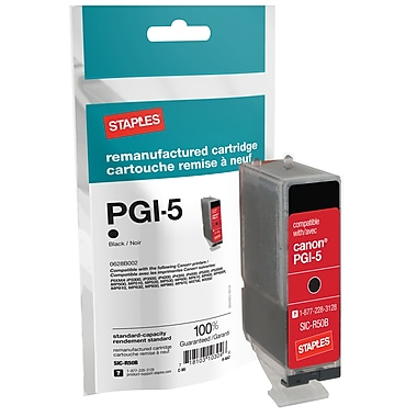 Staples® Reman Black Ink Cartridge, Canon PGI-5 (SIC-R50B)