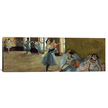 iCanvas ''Dancers Rail'' by Edgar Degas Painting Print on Canvas; 16'' H x 48'' W x 1.5'' D