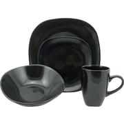 Lorren Home Trends Morella 16 Piece Dinnerware Set; Black