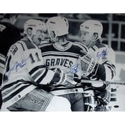 Adam Graves, Brian Leetch, & Mark Messier Black/White Celebration Photo 16x20