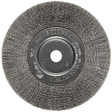 Trulock™ 6 in (OD) 3/4 in (W) Face Narrow-Face Crimped Wire Wheel Brush, 0.006 in Wire, SS