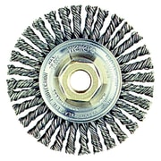 Dualife® 6 in (OD) 1/2 in (W) Face Stringer Bead Wire Wheel Brush, 0.023 in Wire, Steel