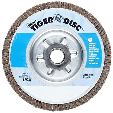 Tiger® 4 1/2 in (OD) 29 Angled Style ZrO2 Flap Disc, 80 (Fine), 5/8-11 inches Arbor