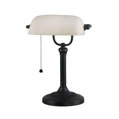 Kenroy Amherst Incandescent Banker's Lamp, Oil Rubbed Bronze Finish
