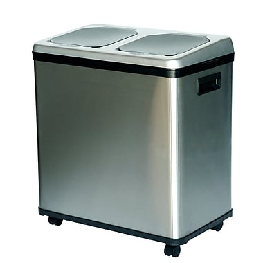 iTouchless® 2-Compartment Recycle Stainless Steel Touchless Trashcan® 16 Gallon