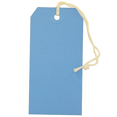 JAM Paper® Gift Tags with String, Medium, 2 3/8 x 4 3/4, Blue, 10/pack (39197115)