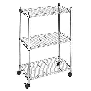 Whitmor Supreme 3 Tier Jumbo Cart With Casters, Chrome