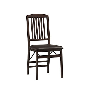 Linon Triena Vinyl X Back Armless Folding Chair, Rich Espresso