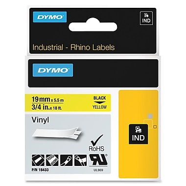 DYMO® 18433 RhinoPRO Adhesive Vinyl Label Tape, 3/4-Inch, 18-Foot Cassette, Yellow