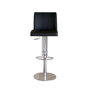 Baxton Studio Marcus Leather Adjustable Swivel Bar Stool, Black